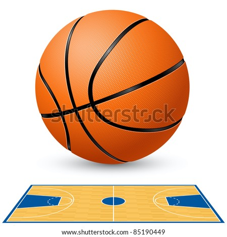 Basketball and basketball court floor plan. Illustration on white background. - stock vector