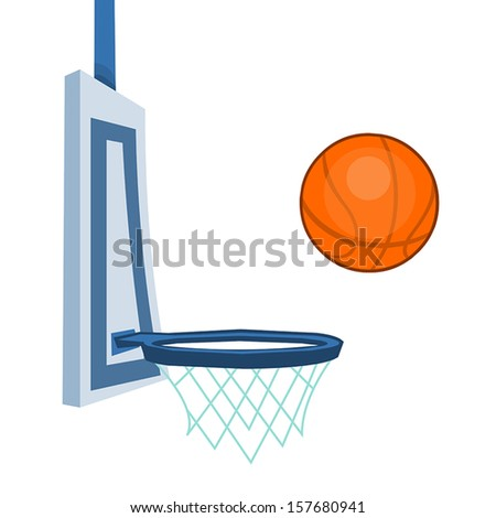 Basketball and basketball hoop isolated illustration - stock vector