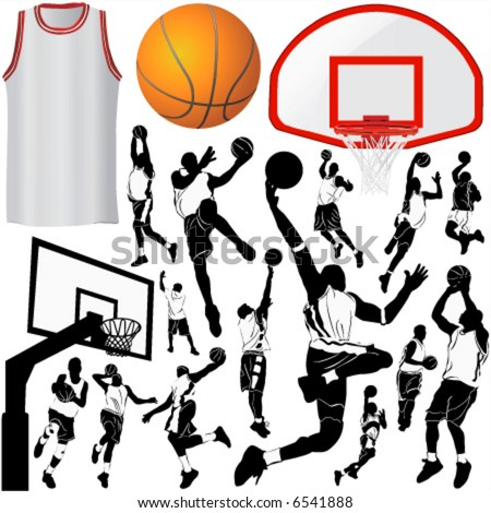 basketball and equipments 3 (clothes detail) - stock vector