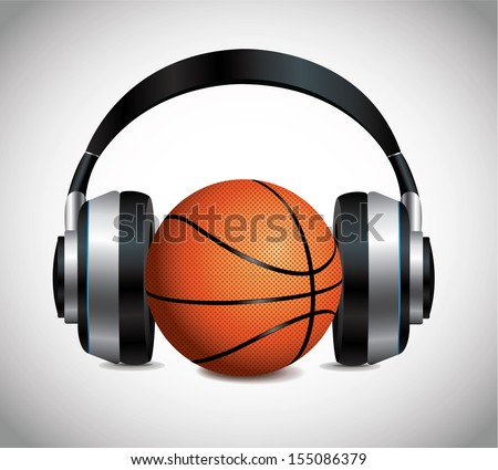 Basketball And Headphones - stock vector