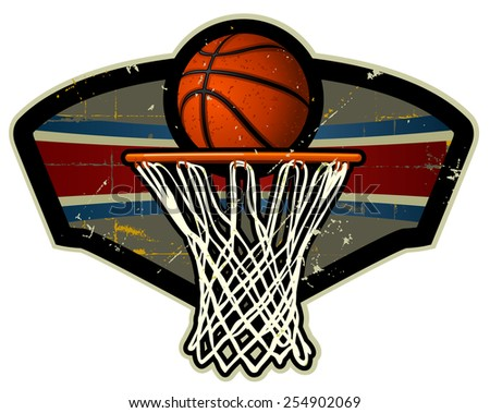 Basketball and net emblem - stock vector