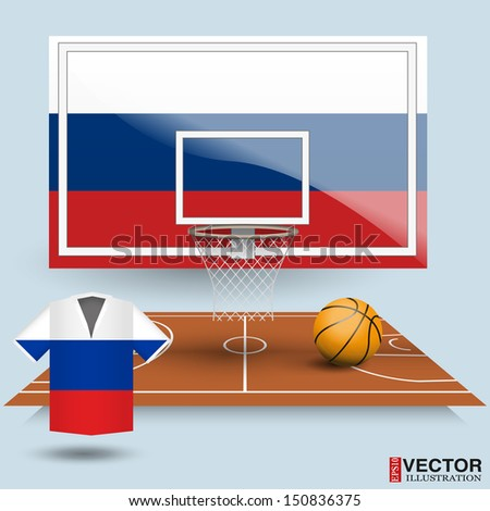 Basketball backboard, basket, court,  ball and t-shirt in the colors of the flag of Russia - stock vector
