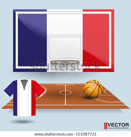 Basketball backboard, basket, court, ball and t-shirt in the colors of the France flag - stock vector