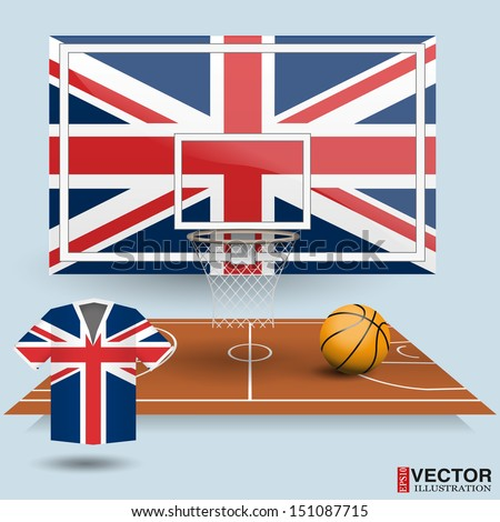 Basketball backboard, basket, court, ball and t-shirt in the colors of the United Kingdom flag - stock vector