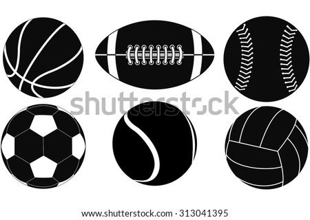 Basketball ball, Baseball ball, American football ball, Volleyball, Soccer ball, Tennis ball. Vector drawing isolated on white background