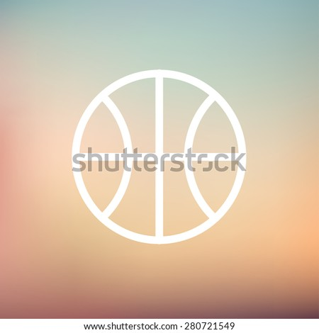 Basketball ball icon thin line for web and mobile, modern minimalistic flat design. Vector white icon on gradient mesh background. - stock vector