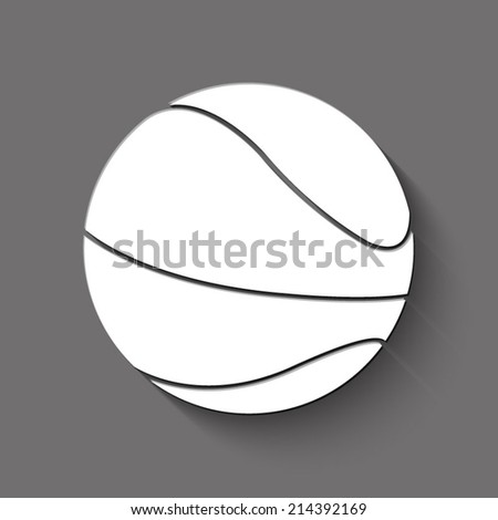 Basketball ball icon - white illustration with shadow on gray background - stock vector