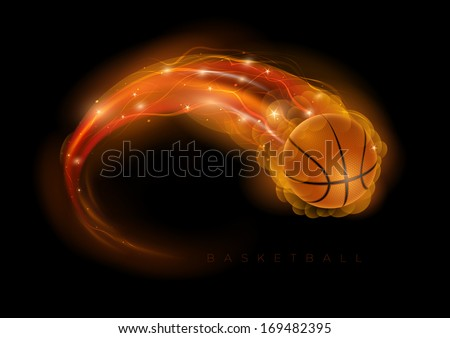 Basketball ball in flames and lights against black background. Vector illustration. - stock vector