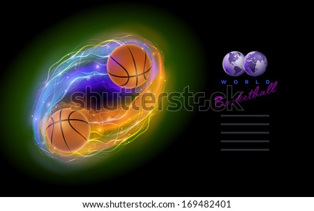 Basketball ball in flames and lights against black background. Vector illustration and design template. - stock vector