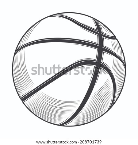 Basketball ball isolated on a white background. Line art. Fitness symbol. Vector illustration - stock vector