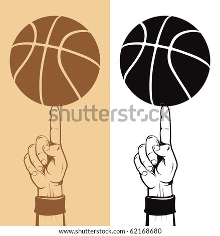 Basketball Ball On The Finger Vector Drawing - stock vector
