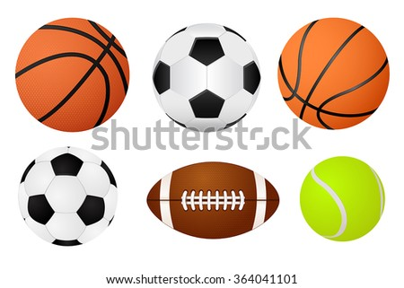 Basketball ball, soccer ball, tennis ball and american football. Vector Illustration isolated on white background.