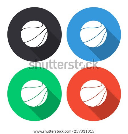 basketball ball vector icon - colored(gray, blue, green, red) round buttons with long shadow - stock vector