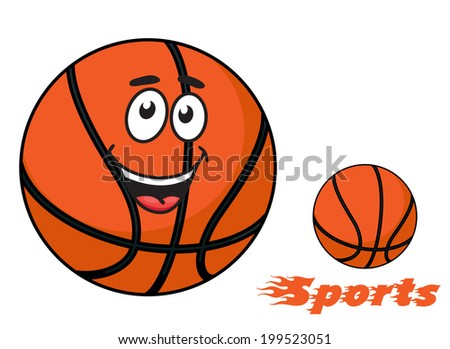 Basketball ball with a happy smiling face and flaming Sports text with trailing flames for sports logo design - stock vector
