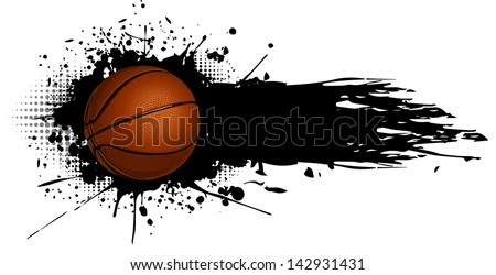 Basketball ball with splashes of ink