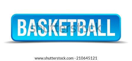 basketball blue 3d realistic square isolated button