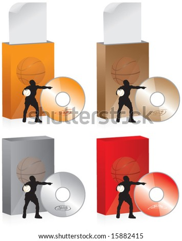 basketball box, sports archive - stock vector