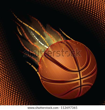 basketball, burned basketball, great ball of fire - stock vector
