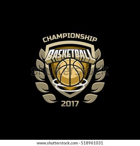 basketball championship logo emblem template vector stock vector 518961037 shutterstock. Black Bedroom Furniture Sets. Home Design Ideas