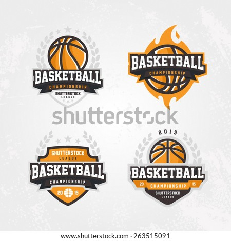 Basketball championship logo set - stock vector