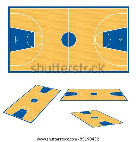 Basketball court floor plan. Illustration on white background. - stock vector