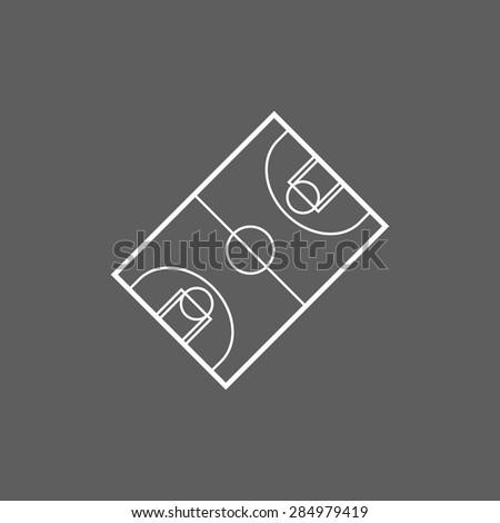 basketball court icon - stock vector
