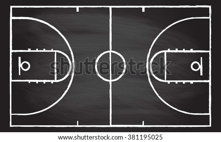 Basketball court isolated on blackboard texture with chalk rubbed background. Vector illustration.  - stock vector