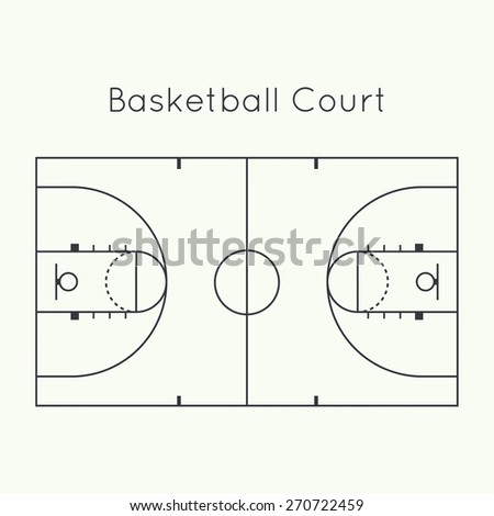 Basketball court on a white top view. Board to parse the tactics of attack, defense - stock vector