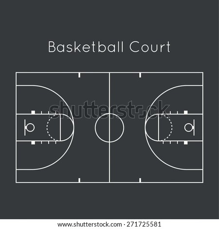 Basketball court on black top view. Board to parse the tactics of attack, defense - stock vector