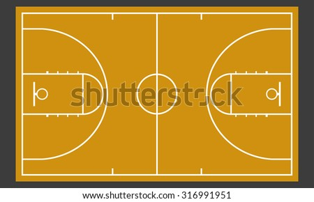 Basketball court. Realistic blackboard for strategy or tactic plan. Colorful vector illustration.
