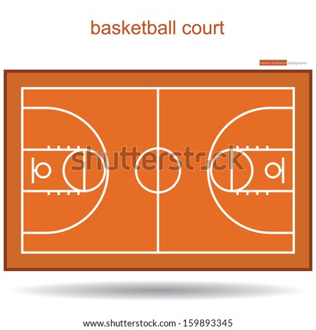 basketball court top view proper markings and proportions according standards. vector. - stock vector