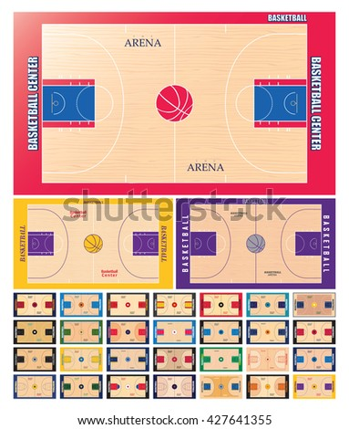Basketball court vector set - stock vector