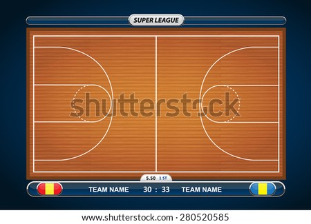 Basketball court with statistics elements. Vector illustration.