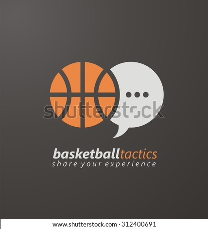 Basketball creative logo design concept for website, blog or portal. Sport symbol layout. Basketball tactics, share your experience. Unique flat icon template with ball and speech bubble. - stock vector