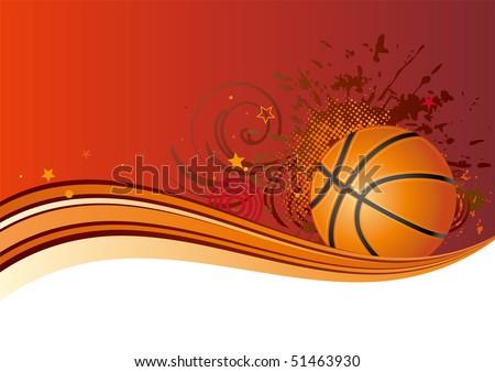 basketball design element,red background - stock vector