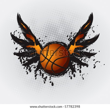 Basketball Design Element 1 Vector Drawing - stock vector