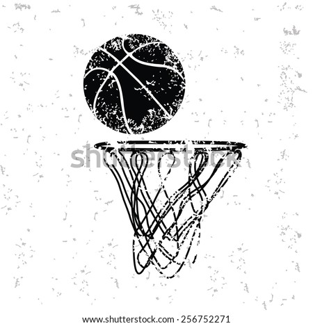Basketball design on old paper,grunge vector - stock vector