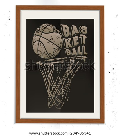 Basketball design on wood frame, retro concept, grunge design on old background, clean vector