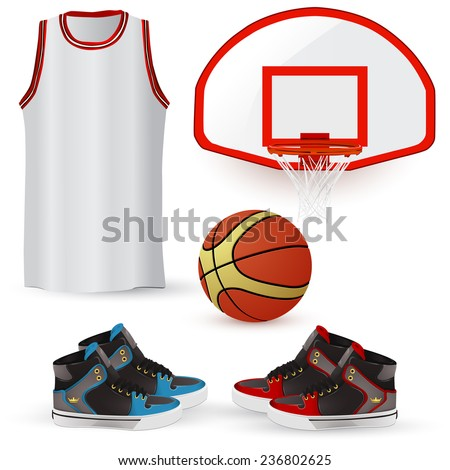 Basketball Equipment, Apparel & Basketball Gear including shoes, ball, jersey and hoops - stock vector