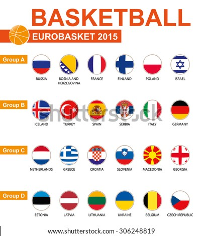 Basketball, Eurobasket 2015, All Groups, All Flags. Vector Image. - stock vector