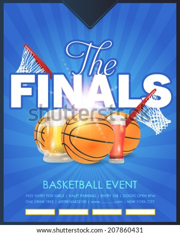 Basketball Event Finals Concept Poster Template Vector Background  - stock vector