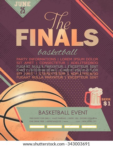 Basketball Event Flyer, Poster Template Geometric Background Design - stock vector