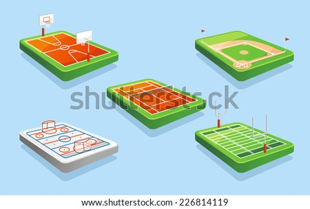 Basketball field, Hockey field, Tennis field, Baseball field, American Football field vector illustration. - stock vector