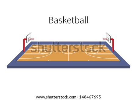 Basketball Field isolated on white background. Vector illustration. - stock vector