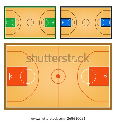 Basketball field or Basketball court collection - stock vector
