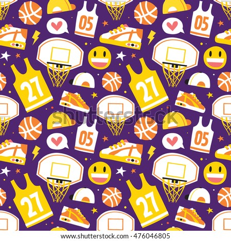 Basketball hand drawn cartoon objects seamless vector pattern purple