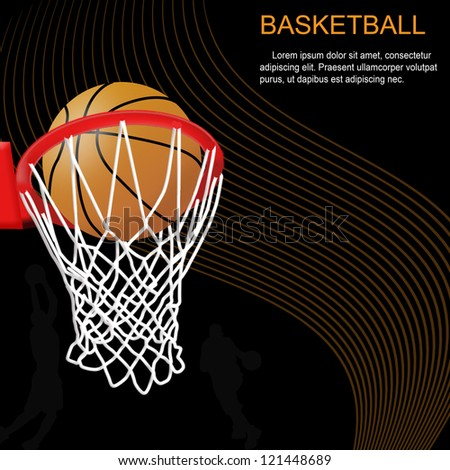 Basketball hoop and ball on abstract background, vector illustration - stock vector