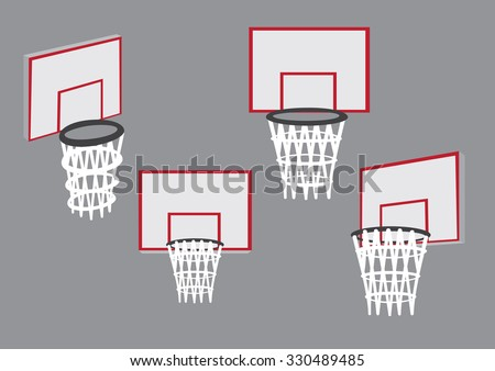 Basketball hoop and net mounted on backboard in different views. Set of four vector illustrations of baskets for basketball sport isolated on plain grey background. - stock vector