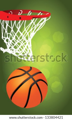 Basketball hoop, detailed illustration on a green background - stock vector
