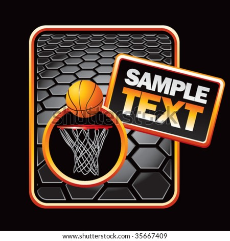 basketball hoop on black hexagon banner template